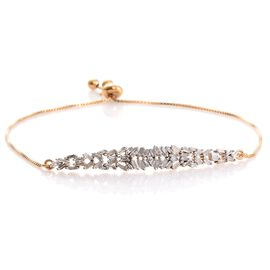 Designer Inspired Fire Cracker Diamond (Bgt) Adjustable Bracelet (Size 6.5-8.5) in 14K Gold Overlay Sterling Silver 0.505 Ct. Silver wt 3.40 Gms.