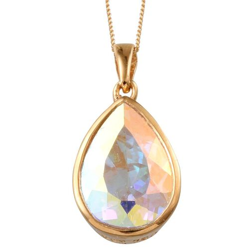 Mercury Mystic Topaz (Pear) Pendant With Chain in 14K Gold Overlay Sterling Silver 11.250 Ct.