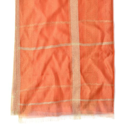 New Season-Orange Colour Scarf with Golden Threads (35% Silk Content)  (Size 180x70 Cm)