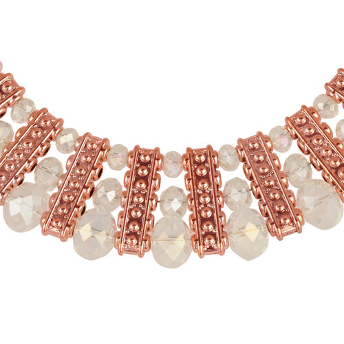 Simulated White Diamond Necklace (Size 18) and Bracelet (Size 7.50) in Rose Gold Tone