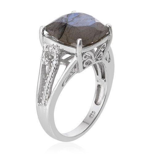 Labradorite (Cush 6.25 Ct), Diamond Ring in Platinum Overlay Sterling Silver 6.260 Ct.