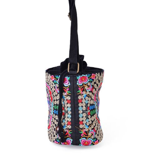 Shanghai Collection Pink, Red, Green and Multi Colour Floral and Bird Pattern Black Colour Crossbody Bag with Adjustable Shoulder Strap (Size 19.5x16.5x13 Cm)