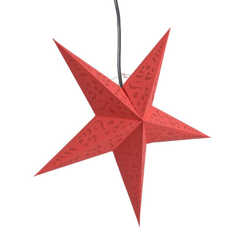 Home Decor - Laser Cut Pattern Red Colour Handmade Star with Electric Cable (Size 60 Cm)