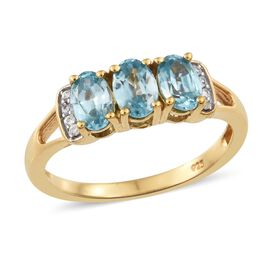 Blue Zircon, Natural Cambodian Zircon Ring in Gold Plated Silver 2 Carat