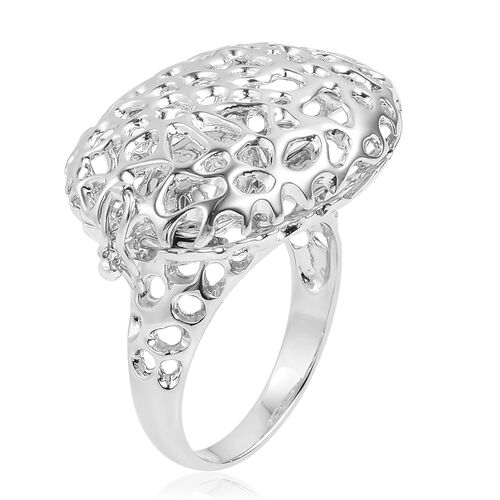 RACHEL GALLEY Rhodium Plated Sterling Silver Pebble Ring, Silver wt 9.84 Gms.