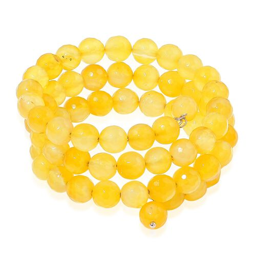 Yellow Agate Multi Strand Adjustable Bracelet (Size 6 to 8.5) in Stainless Steel 215.000 Ct.