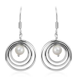White Pearl (Rnd) Concentric Circle Hook Earrings in Sterling Silver, Silver wt 4.38 Gms.