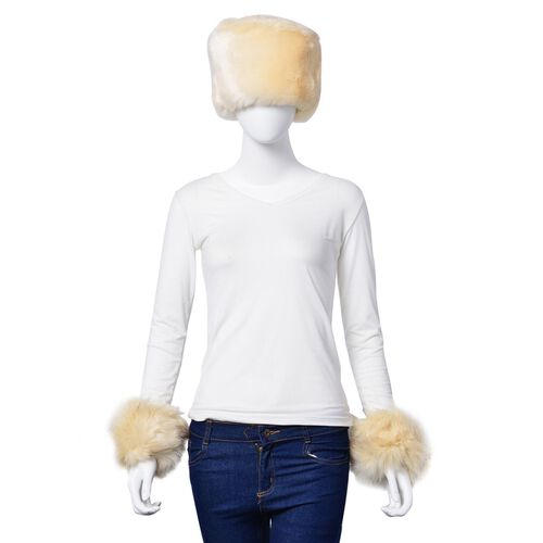 Cream Faux Fur Set of Hat (One Size elasticated) and Wristband (Size 10 Cm)