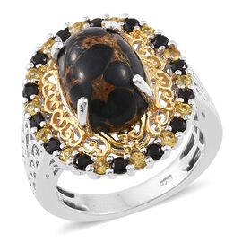 Mojave Black Turquoise (Ovl 6.25 Ct), Yellow Sapphire and Boi Ploi Black Spinel Ring in Platinum and Yellow Gold Overlay Sterling Silver 7.500 Ct.