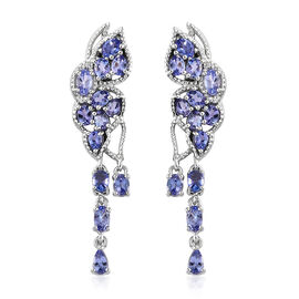 Designer Inspired- AA Tanzanite (Ovl) Earrings (with Push Back) in Platinum Overlay Sterling Silver 4.750 Ct., Silver wt 7.00 Gms.