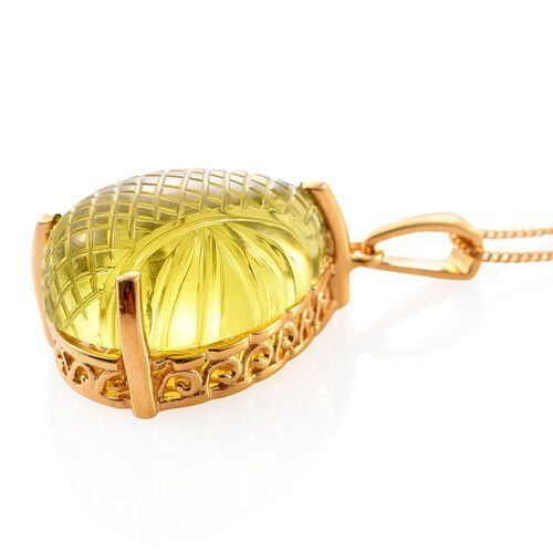 Premium Laser Cut Brazilian Green Gold Quartz (Pear) Pendant with Chain in 14K Gold Overlay Sterling Silver 17.00 Ct.