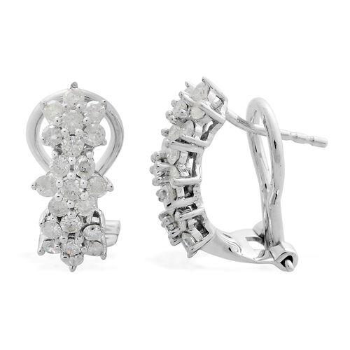 9K White Gold 1 Carat Diamond Floral Earrings SGL Certified (I3/G-H)