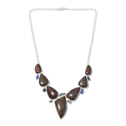 One Off A Kind- Australian Boulder Opal Rock and Opal Double Necklace (Size 18) in Sterling Silver 151.050 Ct. Silver wt 23.59 Gms.