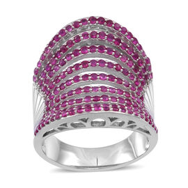 Burmese Ruby (Rnd) Ring in Rhodium Plated Sterling Silver 5.000 Ct. Silver wt 9.00 Gms.