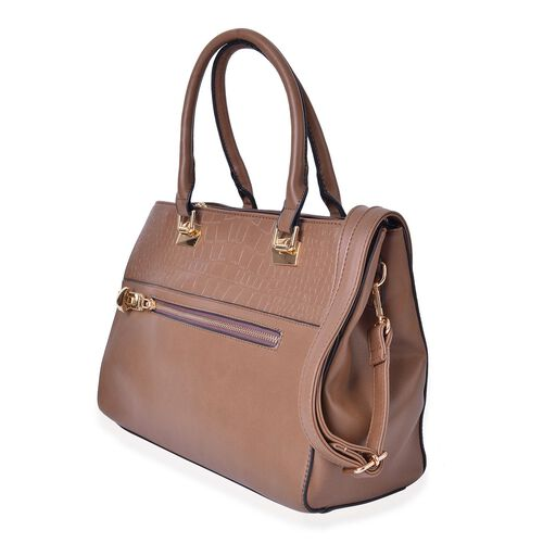Croc Embossed Chocolate Colour Tote Bag with 2 External Zipper Pockets and Adjustable and Removable Shoulder Strap (Size 34X25X13.5 Cm)