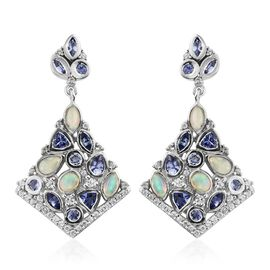 Designer Inspired- Ethiopian Welo Opal (Ovl), Tanzanite and Natural Cambodian Zircon Earrings (with Push Back) in Platinum Overlay Sterling Silver 4.000 Ct. Silver wt. 8.33 Gms.