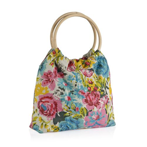 Sicily Yellow and Multi Colour Floral Pattern White Colour Handbag with Sequins (Size 38x30x9 Cm)
