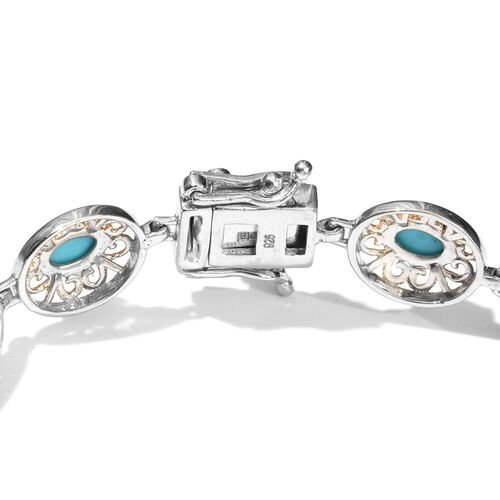 Limited Edition - Arizona Sleeping Beauty Turquoise (Ovl) Bracelet (Size 7.25) in Platinum and Yellow Gold Overlay Sterling Silver 4.750 Ct.
