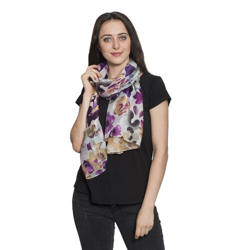 100% Mulberry Silk Picasso Lilly Floral Printed Purple, Pink and Multi Colour Scarf (Size 180x100 Cm)