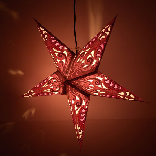 CHRISTMAS SPECIAL Home Decor - Pink, Purple and Multi Colour Handmade Star with Electric Cable (Size 60 Cm)