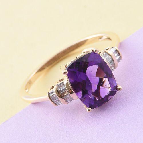 9K Y Gold AAA Moroccan Amethyst (Cush 2.85 Ct), Diamond Ring 3.000 Ct.