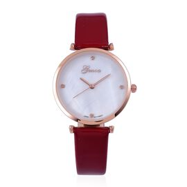 GENOA Diamond Studded MOP Dial Watch with Red Colour Strap