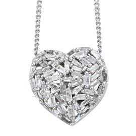 GP Diamond (Bgt), Kanchanaburi Blue Sapphire Heart Pendant With Chain (Size 20) in Platinum Overlay Sterling Silver 0.330 Ct.