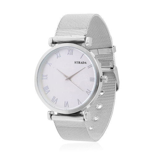 STRADA Japanese Movement  Silver Tone Watch