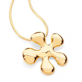 LucyQ Splash Pendant with Snake Chain (Size 18) in 14K Gold Overlay Sterling Silver 7.80 Gms.