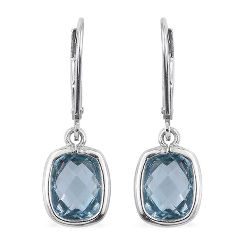 Sky Blue Topaz (Cush) Lever Back Earrings in Platinum Overlay Sterling Silver 5.000 Ct.