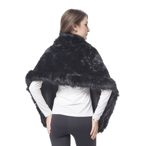 Designer Inspired-Black Colour Faux Fur Shawl (Size 150X40 Cm)