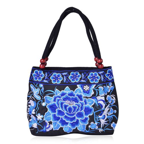 SHANGHAI COLLECTION Black, Light and Dark Blue Colour Floral Embroidered Tote Bag with Beads in Handle (Size 28X23X9.5 Cm)