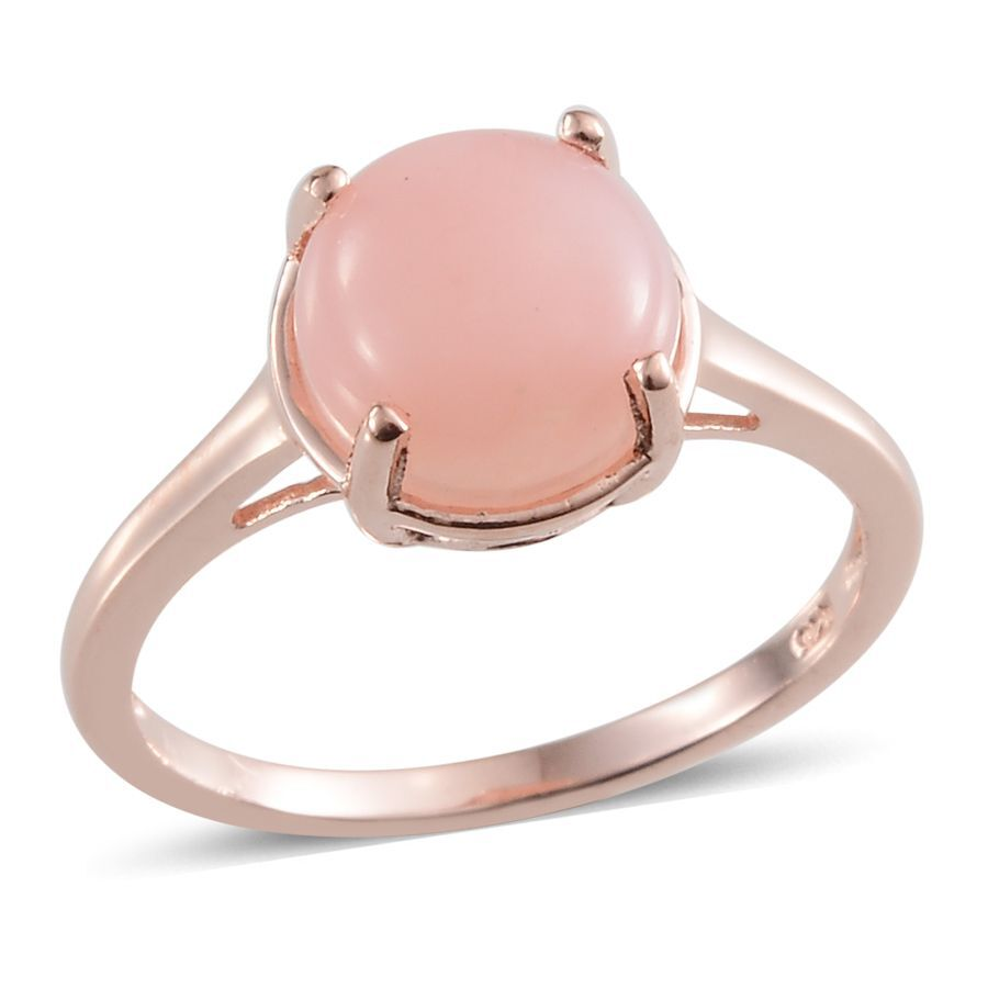 Peruvian Pink Opal Rnd Solitaire Ring In Rose Gold