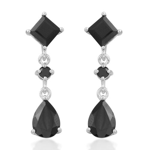Boi Ploi Black Spinel (Pear) Earrings (with Push Back) in Rhodium Plated Sterling Silver 7.150 Ct.