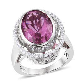 Kunzite Colour Quartz (Ovl 9.50 Ct), Natural Cambodian Zircon Ring in Platinum Overlay Sterling Silver 10.250 Ct.