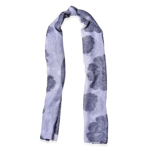 Floral Pattern Black and White Colour Scarf (Size 180x80 Cm)