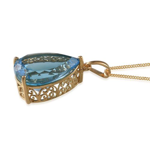 Electric Swiss Blue Topaz (Pear) Pendant With Chain in 14K Gold Overlay Sterling Silver 18.000 Ct.