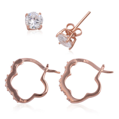 Close Out Deal Set of 2 - ELANZA AAA Simulated Diamond (Rnd) Hoop and Stud Earrings (with Push Back) in Rose Gold Overlay Sterling Silver