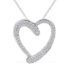 9K White Gold Diamond (Rnd) (I3/G-H) Pendant with Chain (Size 18) 0.500 Ct.