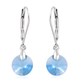 J Francis Crystal from Swarovski - Aquamarine Colour Crystal (Rnd) Lever Back Earrings in Platinum Overlay Sterling Silver