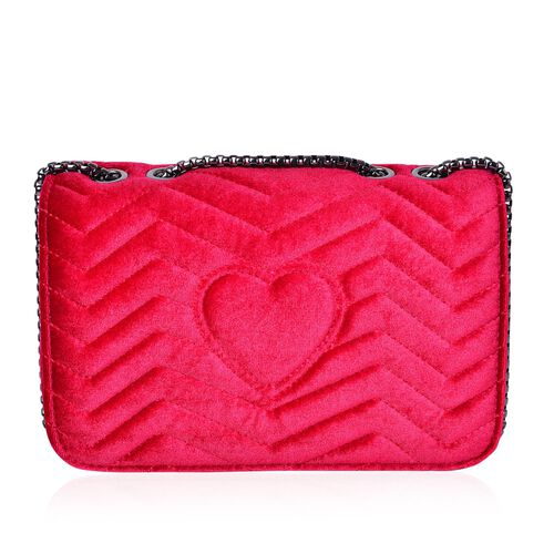 Ruby Red Velvet Zigzag Pattern Crossbody Bag with Chain Strap (Size 23X15.5X7.7 Cm)