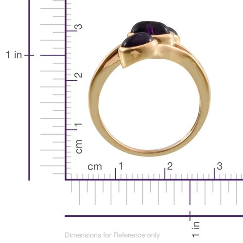 Amethyst (Ovl 1.25 Ct) 3 Stone Ring in 14K Gold Overlay Sterling Silver 3.000 Ct.
