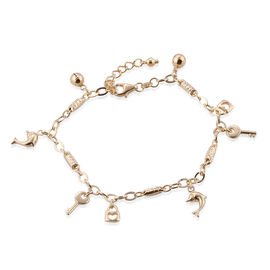 DOD - Designer Inspired 9K Yellow Gold Oval Link Bracelet (Size 7 with 1 inch Extender) with Dolphin, Lock and Key Charm, Gold wt 4.08 Gms.