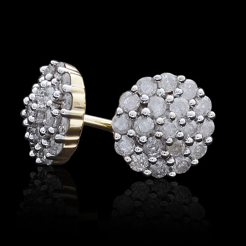 9K Yellow Gold SGL Certified Diamond (Rnd) (I3 G-H) Stud Earrings (with Push Back) 0.500 Ct.