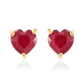 African Ruby (Hrt) Stud Earrings (with Push Back) in 14K Gold Overlay Sterling Silver 3.000 Ct.
