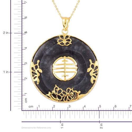 Hand Polished Black Jade Chinese Character FENG (Abundance) Pendant with Chain (Size 20) in Yellow Gold Overlay Sterling Silver 80.100 Ct.
