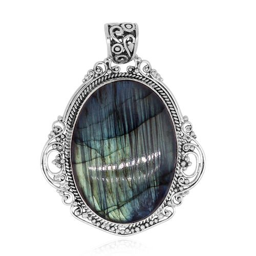 Royal Bali Collection Labradorite (Ovl) Pendant in Sterling Silver 86.80 Ct.