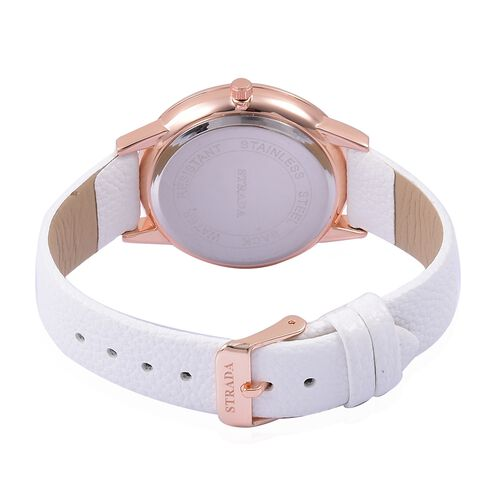 STRADA Japanese Movement White Dial Water Resistant Watch in Rose Gold Tone with White Colour Strap