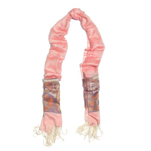 100% Superfine Modal Pink and Multi Colour Paisley Pattern Jacquard Scarf (Size 190x70 Cm)