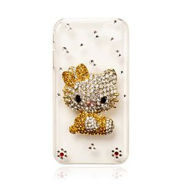 Black, Pink, White and Yellow Austrian Crystal Kitty iphone Protective Cover